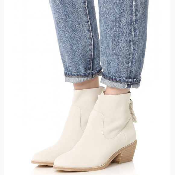 Joie White Suede Ankle Booties Adria